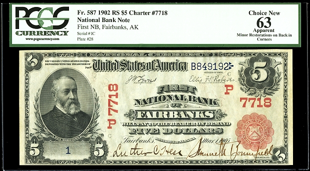 ha fairbanks note 51 1902 Alaskan $5 could bring $200,000+ in Heritage Auctions' ANA Currency event