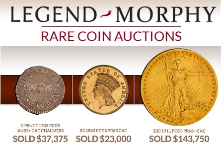 lm results 1 Legend Morphy auction premiere scores big with $143K price on $20 gold coin