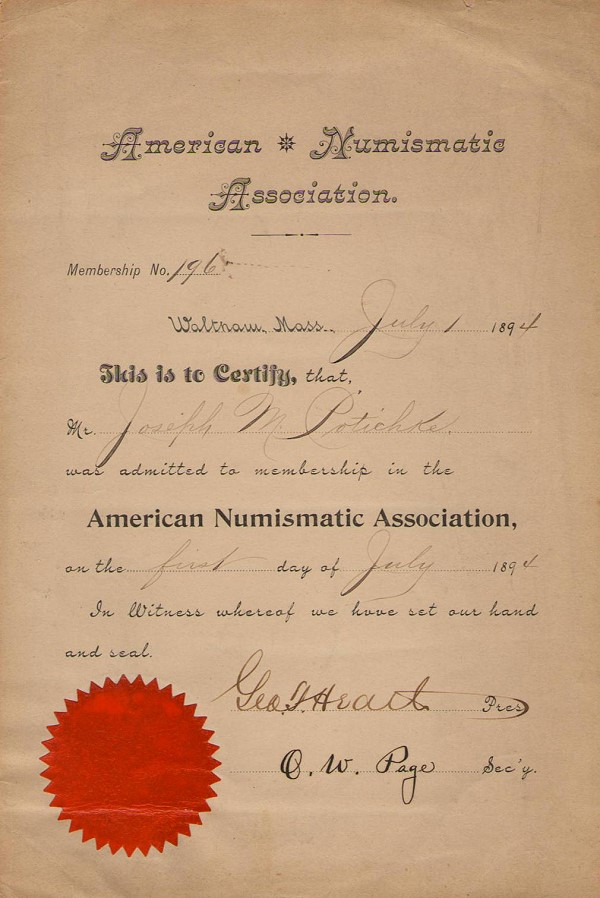 ana 196 Earliest Known Membership Certificate From 1894 Donated to ANA by Dwight Manley