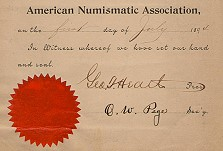 Earliest Known Membership Certificate From 1894 Donated to ANA by Dwight Manley