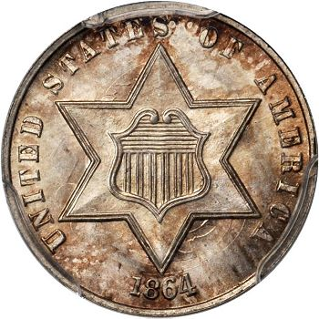 gr 3cs 641 Coin Rarities & Related Topics: Astonishing Three Cent Silvers in Rarities Night