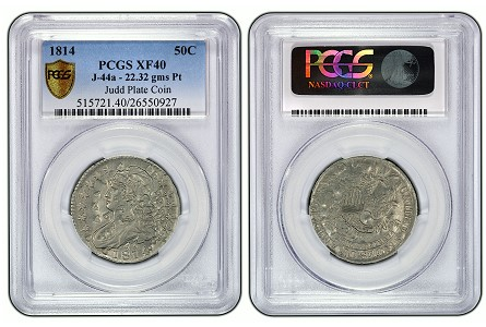 Unique Pattern 1814 Platinum Half Dollar Certified by PCGS