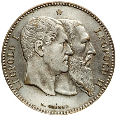 Belgium 50th 1880 2fr1 Silver Coinage of the Latin Monetary Union