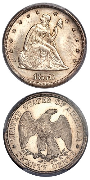 fun13 1876cc 20c Coin Rarities & Related Topics: Large Cents, Silver Coins, and more, in the FUN Platinum Night Event