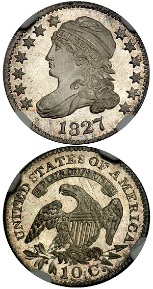 1827 10c ngc67 goldbergs feb2013 Southern California Auctions Pull in Nearly $30 Million; Numismatics Heard from the Rooftops
