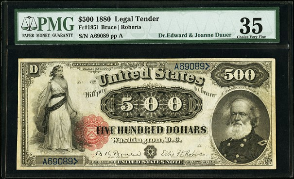 fr 1851 1880 $500 brings $441,250 to top Heritage Auctions' $13.4+ million FUN Currency Auction