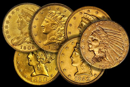 Coin Rarities & Related Topics: Half Eagles ($5 gold coins) in March Rarities Night Auction