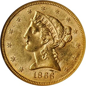grsb 66 Coin Rarities & Related Topics: Half Eagles ($5 gold coins) in March Rarities Night Auction