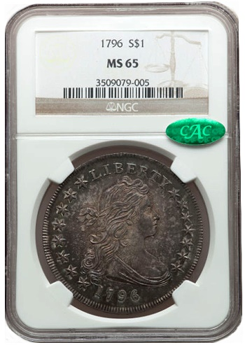 1796 s1 hacsns n65 cac Coin Rarities & Related Topics: Million Dollar Items Lead Central States Auction, Part 1