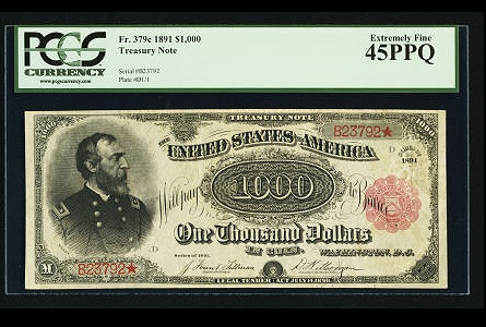 1891 $1,000 Treasury note achieves $2.5m auction record at Heritage