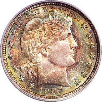 gr 041713 1907 d barber 50c ducker Coin Rarities & Related Topics: Denver Mint Barber Half Dollars of 1907, with comments on condition rankings