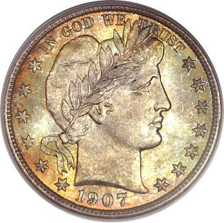 gr 041713 1907 d barber 50c oneal Coin Rarities & Related Topics: Denver Mint Barber Half Dollars of 1907, with comments on condition rankings
