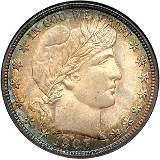 gr 041713 1907 d barber 50c pitmanl Coin Rarities & Related Topics: Denver Mint Barber Half Dollars of 1907, with comments on condition rankings