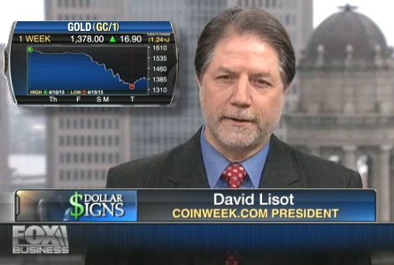 CoinWeek's David Lisot with Fox Business News Host Stuart Varney on Golds Biggest Pullback in 30 Years