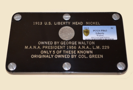With permission from the owners, a Professional Coin Grading Service certificate of authenticity and grade, PCGS Secure PR63, was affixed by PCGS Co-Founder David Hall to the inside layer of George O. Walton's custom-made holder.  The famous coin, that now has sold for $3,172,500, was inside that holder when it was recovered from the 1962 car crash that killed Walton.  (Photo courtesy of PCGS.)