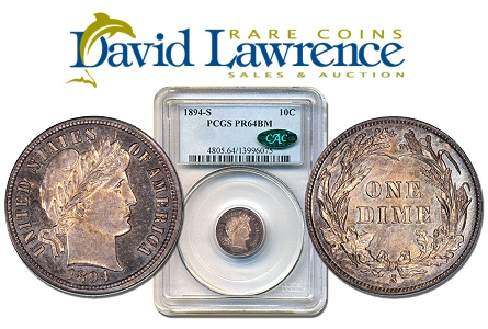 David Lawrence Rare Coins Acquires the Daggett­-Parker-Brown 1894-­S Barber Dime