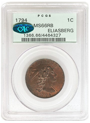 ha csns 2013 1794 1c obv Coin Rarities & Related Topics: The Best Eliasberg 1794 cent, which has been in several Epic Coin Collections