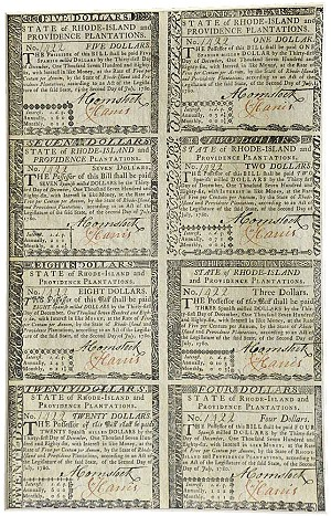 uncut col curr Auction of Revolutionary War Era 1780 Rhode Island Currency Today