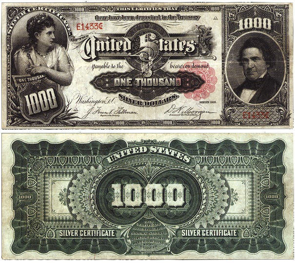 1891 marcey 1891 $1,000 Marcy Silver Certificate Sets New World Record Selling for $2.6 Million