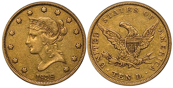DW 1838 10 MLD United States Gold Coins with Multiple Levels of Demand