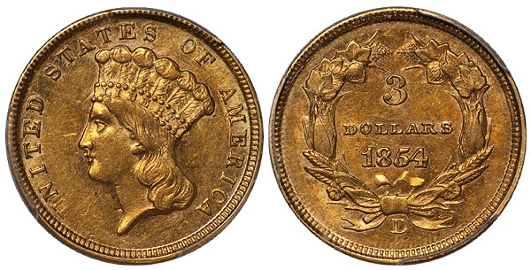 dw 1854d 3 mld United States Gold Coins with Multiple Levels of Demand