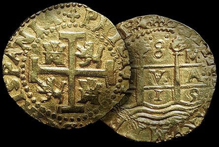 1715 lima 8 escudo Lima Eight Escudos Gold Treasure Coin from the 1715 Fleet ?