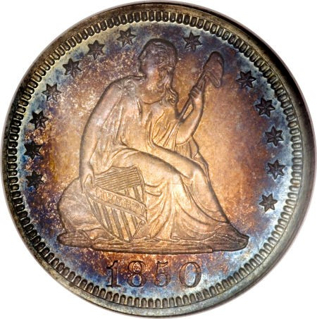 1850 pr68 25c obv Proof Coins: Under appreciated Pittman Proof 1850 Liberty Seated Quarter in Platinum Night Sale