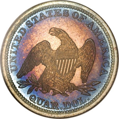 1850 pr68 25c rev Proof Coins: Under appreciated Pittman Proof 1850 Liberty Seated Quarter in Platinum Night Sale