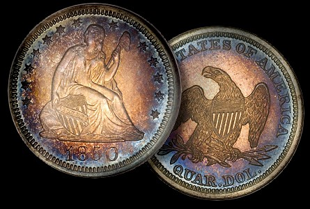 Proof Coins: Under-appreciated Pittman Proof 1850 Liberty Seated Quarter in Platinum Night Sale