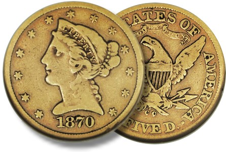 1870 cc 5 vg10 Should You Buy Very Rare US Gold Coins in Low(er) Grades?