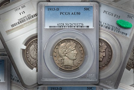 circ barbers Classic US Coins for less than $500 each, Part 6: Barber Half Dollars