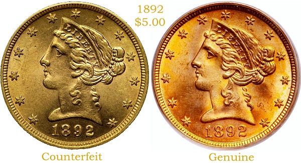 1892 5 fake Real Counterfeit Coin Detection:  1892 US Gold Half Eagle