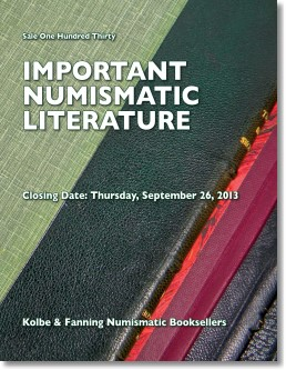 Kolbe & Fanning Announce September 26 Mail-Bid Sale of Important Numismatic Books