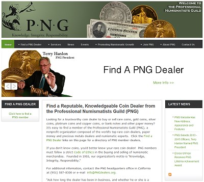 png site new Professional Numismatists Guild Website Has New  Address, Appearance and Features