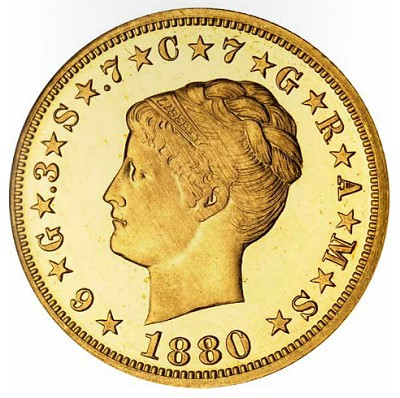 1880 coiled hair stella Coin Auction Records set by Bonhams for Tacasyls Proof Gold Coins.  Total $10.77 Million with 1880 Coiled Hair Stella bringing $2.57 Million