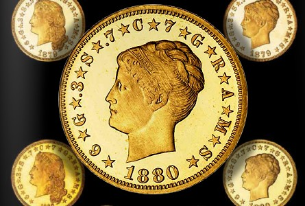 Coin Auction Records set by Bonhams for Tacasyls Proof Gold Coins.  Total $10.77 Million with 1880 Coiled Hair Stella bringing $2.57 Million