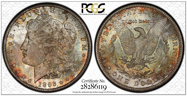 1893 s 1 pcgs67 Legend Numismatics Market Report : The Coronet Morgan Dollar Collection