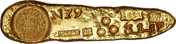 brazil Ingot Unusual Items: Joao VI Prince Regent Gold Ingot of Sabara 1812, with Guia
