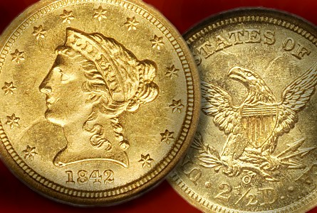 NGC 1842-O Quarter Eagle Gold Coin Claims Record Price, Internet Auctions Bridge The Gap