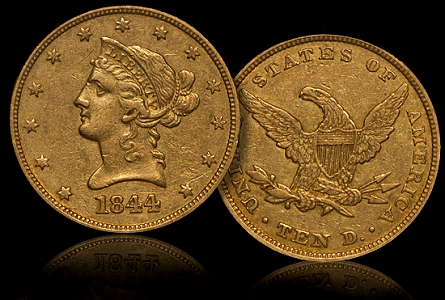 1844 10 dw What Can CAC Population Figures Tell Coin Collectors About Quality and Rarity in the Rare Date Gold Market?