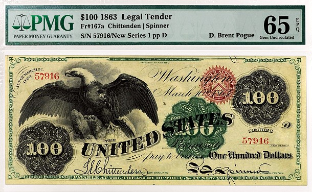 PMG Certifies Important D. Brent Pogue Collection of US Paper Money