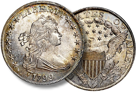 Premium Gem 1799 silver dollar is one of two coins for the entire year certified at NGC in this grade