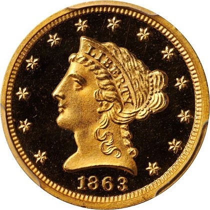 1863 pr 250 obv sb The Proof only Quarter Eagles ($2½ gold coins) of 1863