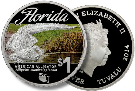 "Modern Coins: 2014 ""Florida Natives"" American Alligator coin to be released at FUN convention."