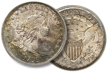 "1799 B-5, BB-157 silver dollar ""Boston specimen"