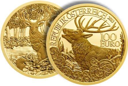red deer Austrian Mint issues News Gold Coin in Wildlife Series   The Red Deer