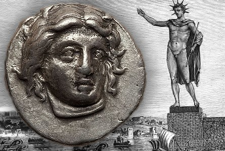 Colossus of Rhodes – CARIAN ISLANDS. Rhodes. Ca. 340-316 BC. AR didrachm
