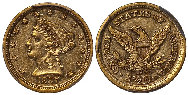 dw 1857d 250 Grade Distribution of Branch Mint US Gold Coins