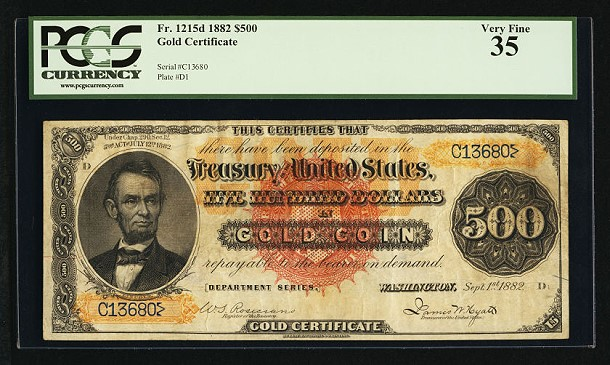fr1215d 500 1882 Gold Certificate May Bring $2 Million At FUN Currency Signature Auction