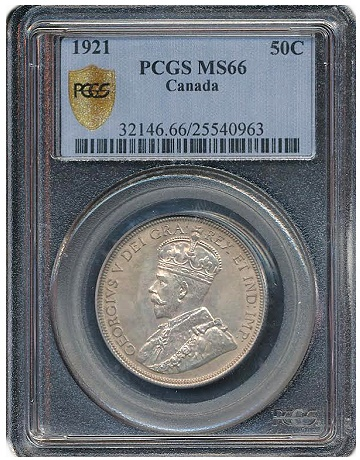1921 canadian 50c pcgs66 Exceedingly Rare CANADIAN Coin to be sold at Torex auction next month